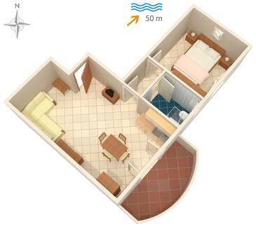 Ražanac, Plan kwatery w zakwaterowaniu typu apartment, dopusteni kucni ljubimci.