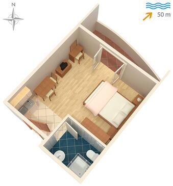 Ražanac, Plan in the studio-apartment, dopusteni kucni ljubimci i WIFI.