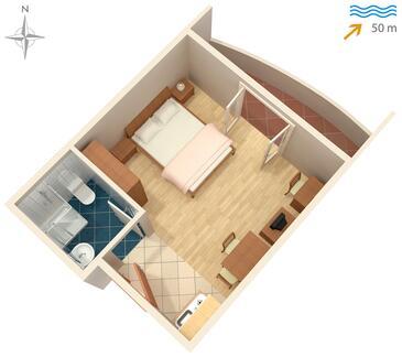 Ražanac, Pôdorys v ubytovacej jednotke studio-apartment, dopusteni kucni ljubimci i WIFI.