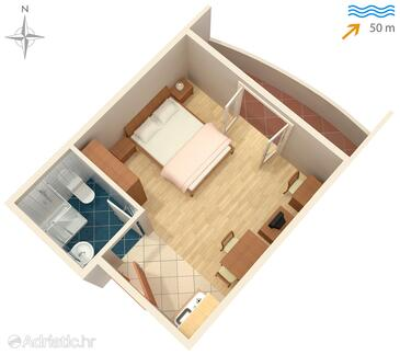 Ražanac, Plan in the studio-apartment, dopusteni kucni ljubimci.