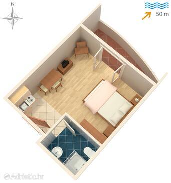 Ražanac, Půdorys v ubytování typu studio-apartment, domácí mazlíčci povoleni a WiFi.