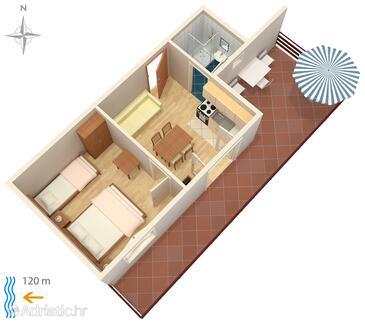 Bibinje, Plan in the apartment, WiFi.