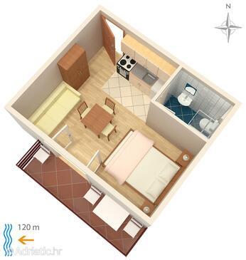 Bibinje, Plan in the studio-apartment, WiFi.