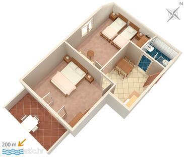 Vrsi - Mulo, Grundriss in folgender Unterkunftsart apartment, WiFi.