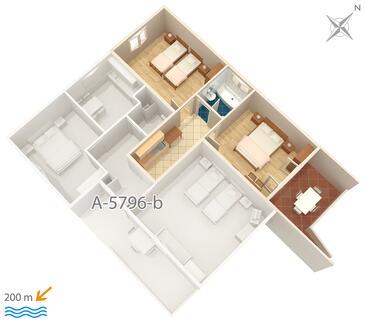 Vrsi - Mulo, Plan kwatery w zakwaterowaniu typu apartment, WIFI.