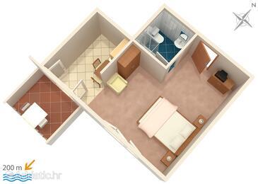 Vrsi - Mulo, Plan in the studio-apartment, WIFI.
