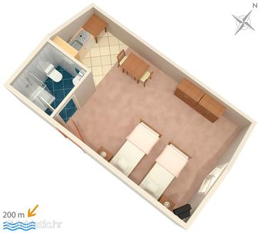 Vrsi - Mulo, Plan in the studio-apartment, WIFI.