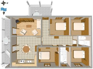 Sućuraj, Plan in the apartment.
