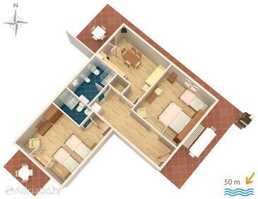Zadar - Diklo, Grundriss in folgender Unterkunftsart apartment, Haustiere erlaubt und WiFi.