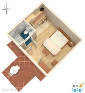 Zadar - Diklo, Plan in the studio-apartment, dopusteni kucni ljubimci i WIFI.