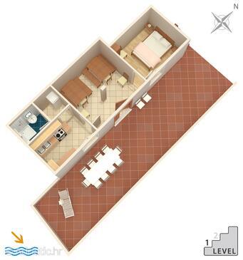 Torac, Půdorys v ubytování typu apartment, domácí mazlíčci povoleni a WiFi.