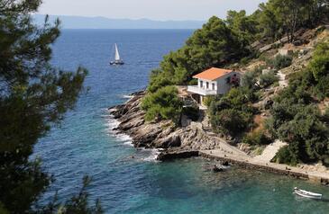 Uvala Torac, Hvar, Obiekt 581 - Apartamenty przy morzu ze żwirową plażą.