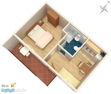 Privlaka, plattegrond in the apartment, WiFi.