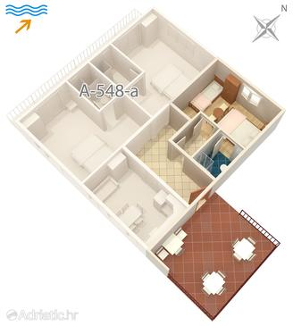 Jelsa, Plan in the studio-apartment, (pet friendly) and WiFi.