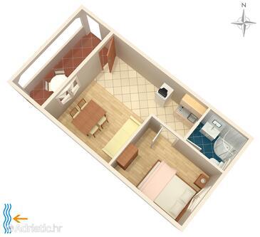 Vrsi - Mulo, Půdorys v ubytování typu apartment, WiFi.