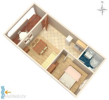 Vrsi - Mulo, Plan in the apartment, dopusteni kucni ljubimci i WIFI.