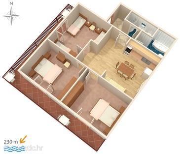 Zadar - Diklo, План в размещении типа apartment, WiFi.