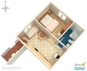 Zadar - Diklo, Plan kwatery w zakwaterowaniu typu apartment, WiFi.