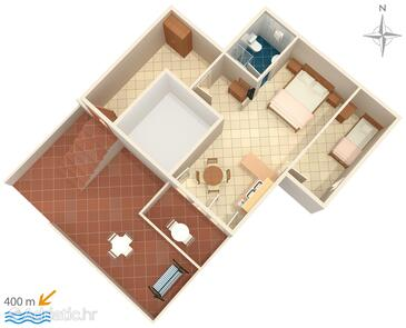 Rtina - Stošići, plattegrond in the studio-apartment, (pet friendly) en WiFi.
