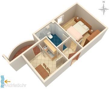 Zadar - Diklo, Pôdorys v ubytovacej jednotke apartment, WiFi.