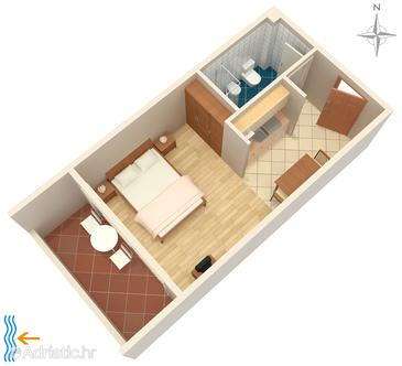 Zadar - Diklo, Plan in the studio-apartment, WiFi.