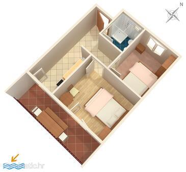 Torac, Půdorys v ubytování typu apartment.