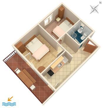 Torac, Pôdorys v ubytovacej jednotke apartment.