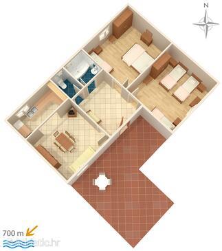 Biograd na Moru, Načrt v nastanitvi vrste apartment, WiFi.