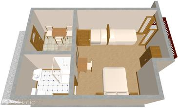 Hvar, Půdorys v ubytování typu studio-apartment, domácí mazlíčci povoleni a WiFi.