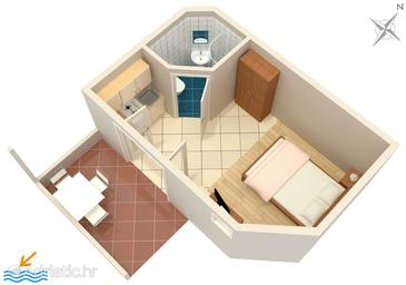 Ivan Dolac, Plan in the studio-apartment, (pet friendly) and WiFi.