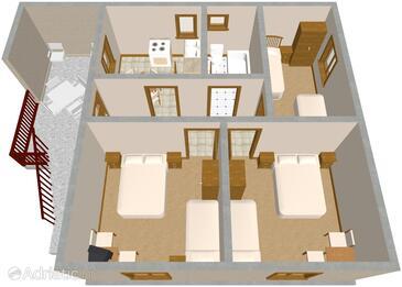 Zavala, Nacrt u smještaju tipa apartment, kućni ljubimci dozvoljeni.