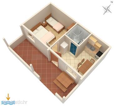Vinišće, Plan in the apartment, dopusteni kucni ljubimci i WIFI.
