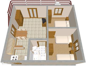 Mudri Dolac, Půdorys v ubytování typu apartment.