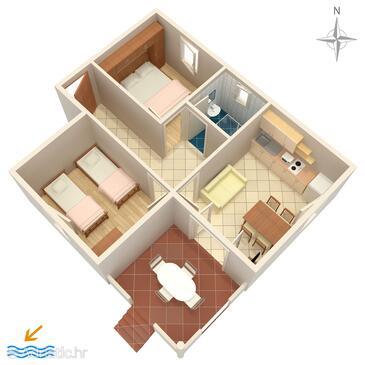 Vrsi - Mulo, План в размещении типа apartment, WiFi.