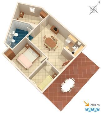 Marina, Plan kwatery w zakwaterowaniu typu apartment, dopusteni kucni ljubimci i WIFI.