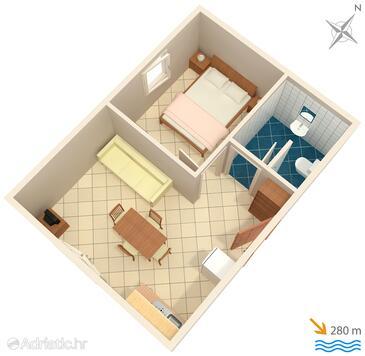 Marina, Plan in the apartment, dopusteni kucni ljubimci i WIFI.
