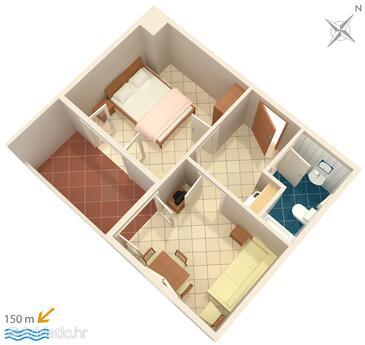 Duće, Plan in the apartment, WiFi.