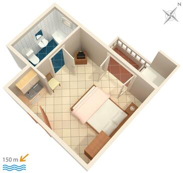 Duće, Plan in the studio-apartment, WIFI.