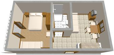 Sobra, Půdorys v ubytování typu apartment, domácí mazlíčci povoleni.