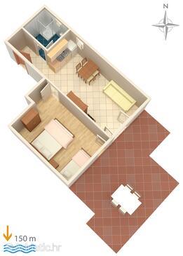 Lokva Rogoznica, Půdorys v ubytování typu apartment, domácí mazlíčci povoleni.