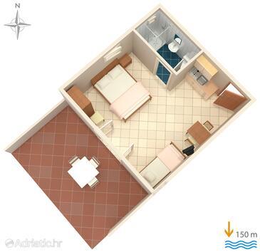 Lokva Rogoznica, Půdorys v ubytování typu studio-apartment, domácí mazlíčci povoleni.