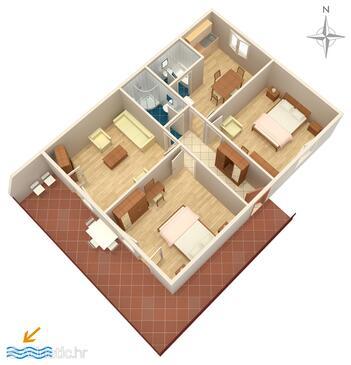 Trogir, Půdorys v ubytování typu apartment, WiFi.