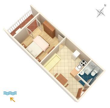 Polače, Plan kwatery w zakwaterowaniu typu apartment, dopusteni kucni ljubimci i WIFI.