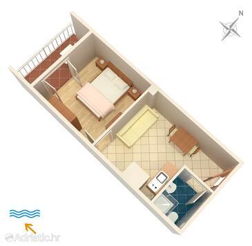 Polače, Plan in the apartment, dopusteni kucni ljubimci i WIFI.