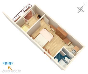 Polače, Plan in the studio-apartment, dopusteni kucni ljubimci i WIFI.