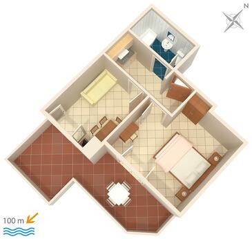 Brela, Půdorys v ubytování typu apartment, domácí mazlíčci povoleni a WiFi.