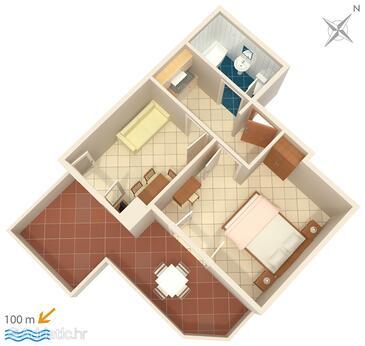 Brela, Plan dans l'hébergement en type apartment, animaux acceptés et WiFi.