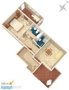 Brela, Plan in the apartment, dopusteni kucni ljubimci i WIFI.