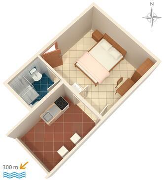 Nemira, Plan kwatery w zakwaterowaniu typu studio-apartment, WIFI.