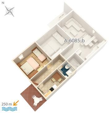 Podgora, Plan kwatery w zakwaterowaniu typu apartment, dopusteni kucni ljubimci i WIFI.